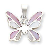 Sterling Silver Pink and White Shell Butterfly Pendant - JewelryWeb JewelryWeb. $69.60. Save 50%!