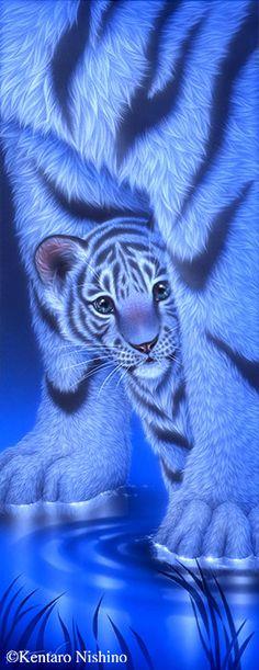 White baby tiger - Painting Art by Kentaro Nishino - Nature Art & Wildlife Art - Airbrushed Wildlife Art. Tiger Drawing, Tiger Painting, Tiger Art, Tiger Cubs, Tiger Tiger, Bengal Tiger, Bear Cubs, Big Cats Art, Cat Art
