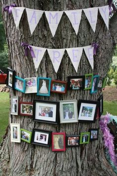 "Family ""tree"" at an outdoor wedding/shower. So cute. Could be heavy on wedding photos but doesn't have to be..."