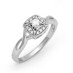 10KT White Gold Round Diamond Twisted Promise Ring (1/6 cttw) D-GOLD. $212.50