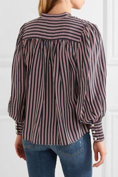 ae348225b6d FRAME - Chloe striped silk shirt. ChloeWhite SilkStripesFrameTopsShirtsBrick SilkFrames. Navy