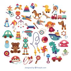 Variety of kid toys  Free Vector