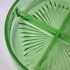 Vintage Green Depression Glass Divided Condiment Tray