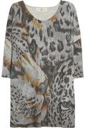 Leopard-print cotton-jersey top