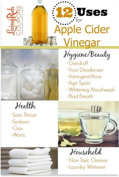 visit www.livingrichwithcoupons.com for 12 ways to use apple cider vinegar for skin, health, household and more. Great benefits to using raw apple cider
