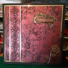 Rose card - using tattered lace embossing folder and gilding wax