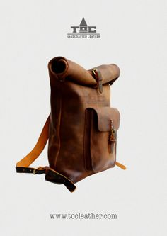 Tộc   Leather: Leather Roll Top Backpack / Rucksack (Light Brown)...