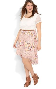 Deb Shops Plus Size Dress with Crochet Bodice and Ditsy Floral High Low Skirt $42.90. I just placed an order for this and hopefully it comes in soon.