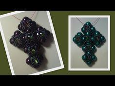 'Faith' Cross Pendant (Big) Beading Tutorial by HoneyBeads (Photo tutorial) Beaded Jewelry Patterns, Beading Patterns, Beaded Jewellery, Bead Crafts, Jewelry Crafts, Diy Jewelry Videos, Beaded Cross, Crystal Cross, Beads And Wire
