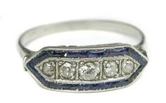 Antique ring sapphire and diamond. Visit Renaissance Fine Jewelry in Vermont or a www.vermontjewel.com for the ultimate bridal  jewelry!