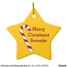 Christmas Holidays by Janz Sweet Heart Candy Cane Ceramic Ornament Custom Christmas Ornaments, Ornaments Design, Gold Christmas, How To Make Ornaments, Christmas Holidays, Merry Christmas, Work Gifts, Presents For Him, Star Ornament