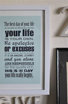 your life is your own -- from One Lucky Day blog