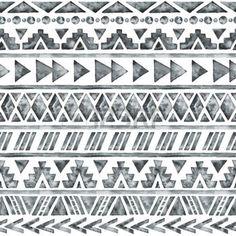 art amÉrindien: Aquarelle ethnique seamless. Mode aztèque fond géométrique. Tiré par la main motif monochrome. Moderne papier peint abstrait. Vector illustration. Illustration