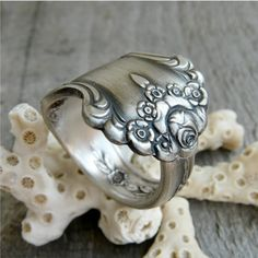 Spoon Ring, Antique Silver Rose Pattern