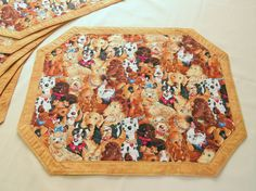 Quilted Placemat Reversible Lloyds and Barton Dogs by QuiltinWaYnE, $44.00
