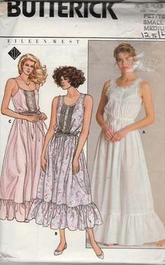 Butterick 3778 Designer EILEEN WEST Misses sleeveless nightgown drawstring  waist ruffle hem dirndl skirt womens vintage sewing pattern by mbchills 0b7868fc7