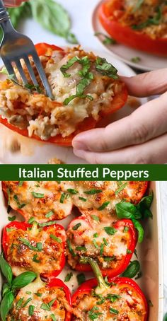 These healthy Italian Stuffed Peppers feature ground turkey or chicken rice quinoa or cauliflower rice (low carb!) Parmesan mozzarella and basil! These are so easy and a family favorite! Italian Stuffed Peppers, Ground Turkey Stuffed Peppers, Stuffed Bell Peppers Quinoa, Grilled Stuffed Peppers, Buffalo Chicken Stuffed Peppers, Stuffed Peppers Healthy, Healthy Ground Turkey, Ground Turkey Recipes, Vegetarian Recipes