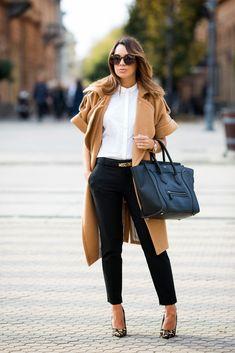 Nicole Miller pants, Zara shirt, Moschino belt, Three Floor coat, Dune shoes, Celine bag, Karen Walker sunglasses.