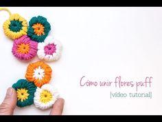 Como unir flores puff de ganchillo | How to join crochet puff flowers