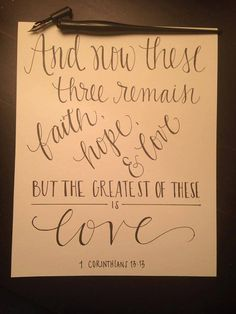8x10 Handlettered Print The Greatest of These by LettersofGracebyT, $12.00