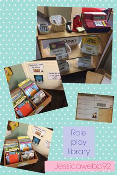 Role play library. Variety of books (information, picture books, reading books.) Till, scanner, chip and pin machine. Library cards, checking out forms, signing up forms, leaflets. Cushions, teddies and blankets. EYFS