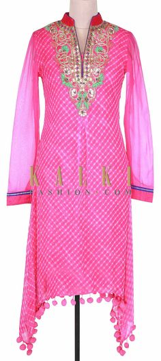 Buy Online from the link below. We ship worldwide (Free Shipping over US$100). Product SKU - 300823. Product Link - http://www.kalkifashion.com/pink-kurti-adorn-in-resham-embroidery-only-on-kalki.html