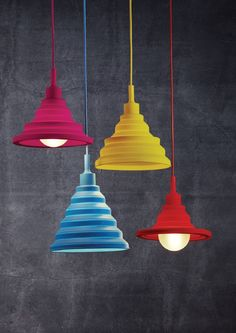Jelly mould colour pendants which can be raised to show more lamp, oh how cheeky! Red Pendant Light, Pendant Lighting, Funky Lighting, Lamp Cover, Lighting Solutions, Glass Pendants, Colored Glass, Playroom, Jelly