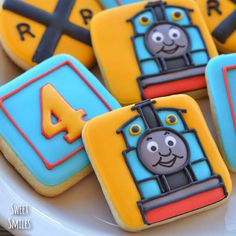 """Doing Thomas again. I had forgotten how difficult it is to get that song out of my head!! #cookies #sugarcookies #decoratedcookies #thomas…"""