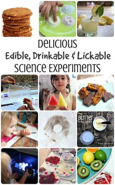 Delicious Edible, Drinkable and Lickable Science Experiments for Kids – loads of ideas for learning in the kitchen. Kids love it! Great teaching opportunities for homeschool, after school or weekends. From Go Science Kids. Food Science Experiments, Baking Science, Kitchen Science, Science Activities For Kids, Preschool Science, Science Projects, Senses Activities, Sunday Activities, Science Fun