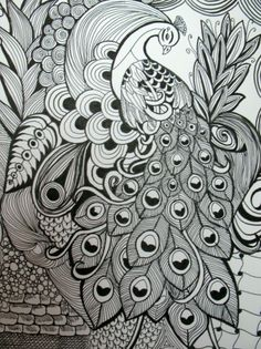Peacock in a zentangle style art using pen & ink, original artwork. 11 x 14 size with black matboard. Mandalas Drawing, Zentangle Drawings, Zentangle Patterns, Mandala Art, Zentangles, Art Drawings, Peacock Drawing, Peacock Painting, Peacock Art