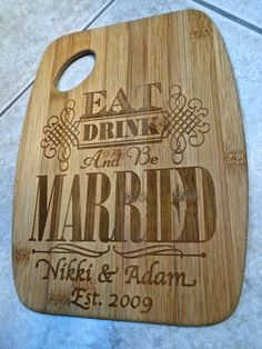 Engraved cutting board,Personalized bridal shower gift, bridal shower favor, wedding gift, engagement party gift. on Etsy, $19.00