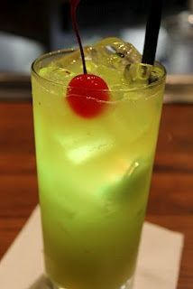 This is the Mowie Wowie: Malibu rum, melon liqueur, peach schnapps, orange and pineapple juices