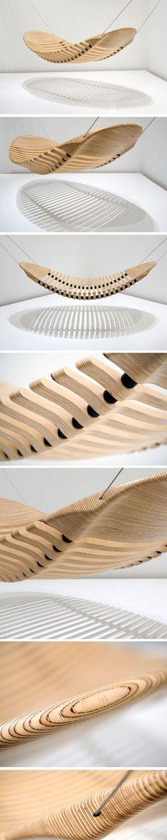 This wooden hammock was designed to be as flexible and comfortable as a fabric one - Modern Unique Furniture, Garden Furniture, Furniture Design, Wooden Hammock, Utility Shelves, Hotel Concept, Got Wood, Yanko Design, Home Deco