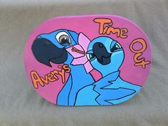 Rio blu and jewel time out wood stool hand drawn and hand painted www.facebook.com/andbabymakesthreee  and can do any theme or design