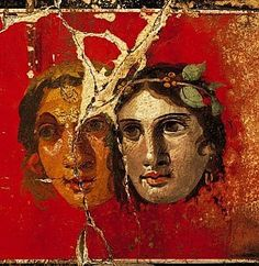 Two female theatre masks. Roman fresco from the House of the Golden Bracelet (VI in Pompeii. Ancient Pompeii, Pompeii And Herculaneum, Ancient Art, Ancient History, Pompeii Italy, Ancient Greek, Fresco, Roman History, Art History