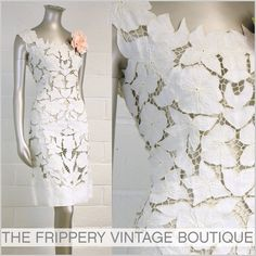 The Frippery: amazing vtg 60s white cutwork lace linen wiggle dress l