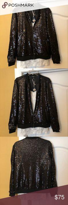 NWT Heidi Kline black Sequin Jacket New. Lined. Gorgeous Sequin Bomber jacket. Size 8. Heidi Klum Jackets & Coats