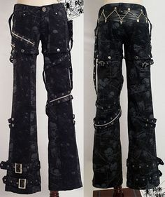 Visual Kei punk gothic rock removalbe pants