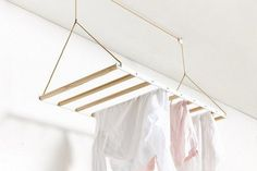 George & Willy The Hanging Drying Rack raises and lowers on a pulley system, creating an instant laundry room Laundry Hanging Rack, Hanging Clothes Drying Rack, Drying Rack Laundry, Hanging Racks, Clothes Dryer, Clothes Rod, Diy Clothes Rack, Clothes Line, Laundry Room Organization