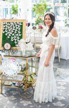 Bridal Dresses, Flower Girl Dresses, Fairy Tea Parties, Tea Party Theme, Alice In Wonderland Tea Party, Tea Party Bridal Shower, Wedding Designs, Wedding Ideas, Theme Ideas