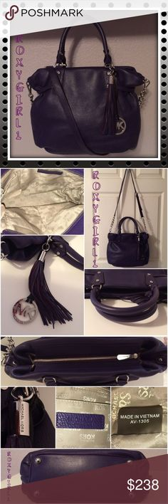 """Michael Kors Megan Leather Satchel in Purple Iris Michael Kors Megan Leather Satchel in Purple Iris Like New ~ Carried 5-6 Times Paid $399 + Tax  This Bag is Gorgeous! DETAILS  Polished Silver Hardware  Detachable/Adjustable Chain & Leather Shoulder Strap Double Rolled Handles with a 6"""" Drop  Zip Top Closure  Gusted Sides Feet on Bottom for protection  1 Zip & 4 Slip Pockets Tassel & Medallion Charms  Approx Measurements: 15"""" L x 10"""" H x 5"""" W ❌NO TRADE❌ Michael Kors Bags Satchels"""