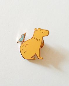 Capybara & Bird Friend Enamel Pin by TheWallopingJackal on Etsy