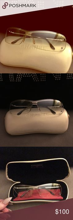 CHANEL SUNGLASSES 4043-B C124-79 SWAROVSKI Authentic Chanel Sunglasses with Swarovski Crystal Beauty Mark. Worn only 3 times. Note they do not have UV protection. They are clear lenses meant to wear in a club or something similar. Comes with Chanel case and lense cleaning cloth - both have CHANEL Logo. Purchased at Saks Fifth Ave. lenses have no scratches.  Excellent Condition. CHANEL Accessories Sunglasses