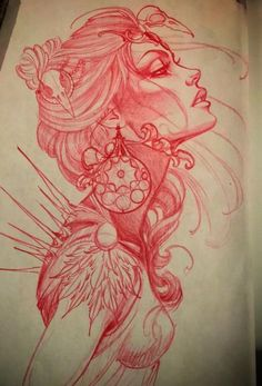Red col erase pencil tattoo drawing of an abstract female. Red col erase pencil tattoo drawing of an abstract female. Hai Tattoos, Kunst Tattoos, Body Art Tattoos, Girl Tattoos, Tattoo Girls, Neck Tattoos, Sleeve Tattoos, Tatoos, Buddha Tattoos