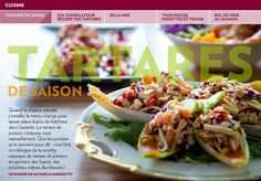 Tartares de saison - La Presse+ Hors D'oeuvres, Tacos, Chicken, Ethnic Recipes, Food, Salmon, Apple, Meals, Yemek