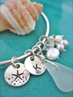 Sea glass starfish beach bracelet