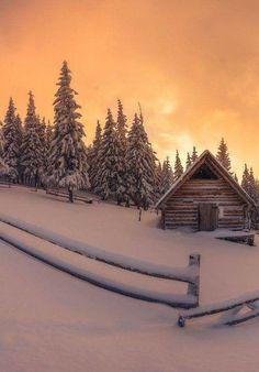 Winter cabin, yellow sky