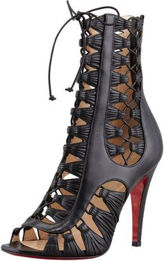 Christian Louboutin Azimut Caged Leather Bootie Black Lace-Up Shoes €1,990 #Booties