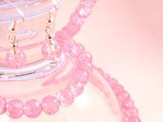 Handmade -  Baby Pink Crackle Glass Jewelry Set (Necklace + Earrings + Bracelet) Glass Jewelry, Jewelry Sets, Crackle Glass, Handmade Baby, Femininity, Bracelets, Earrings, Pink, Beauty
