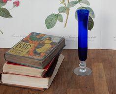 Vintage Blue Glass Vase, Shabby Chic, Retro , Boho, Flower Vase.Home Decor by Route46Vintage on Etsy